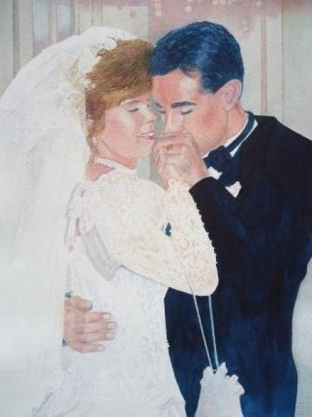watercolor painting of Cathy and Paul's Wedding