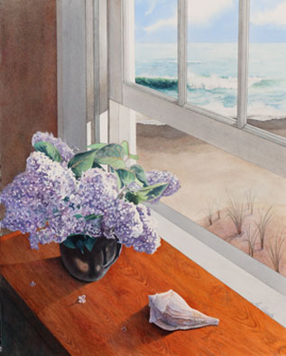 Lilacs with ocean in the background